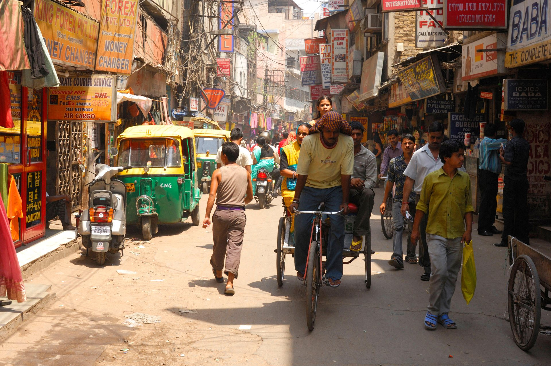 Paharganj district in Old Delhi. Field operators are dispatched from hubs in cities. Photograph: Alamy
