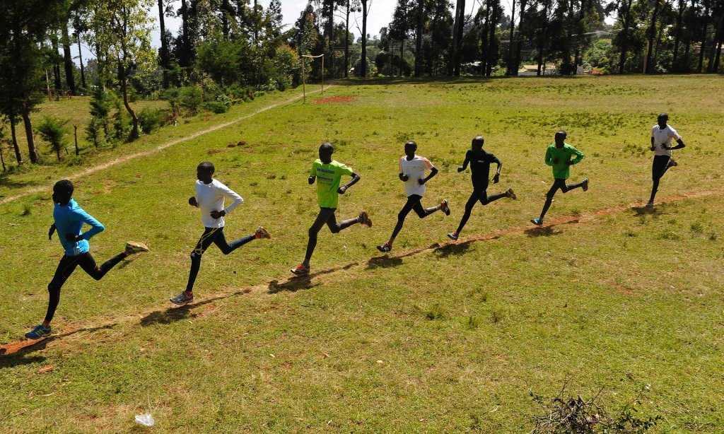 Kenyan athletes during their training in Iten in the Rift Valley in January. Photograph: Simon Maina/AFP/Getty Images