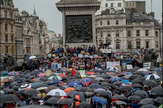 The rally in Trafalgar Square in London on Tuesday. Credit Andrew Testa for The New York Times