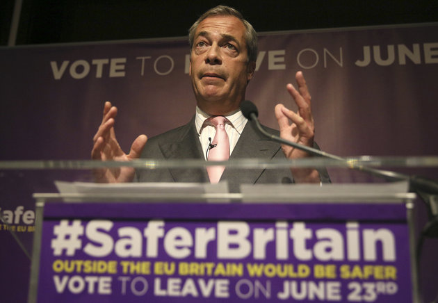 Leader of the United Kingdom Independence Party (UKIP) Nigel Farage speaks at pro Brexit event in London, Britain June 3, 2016. REUTERS/Neil Hall