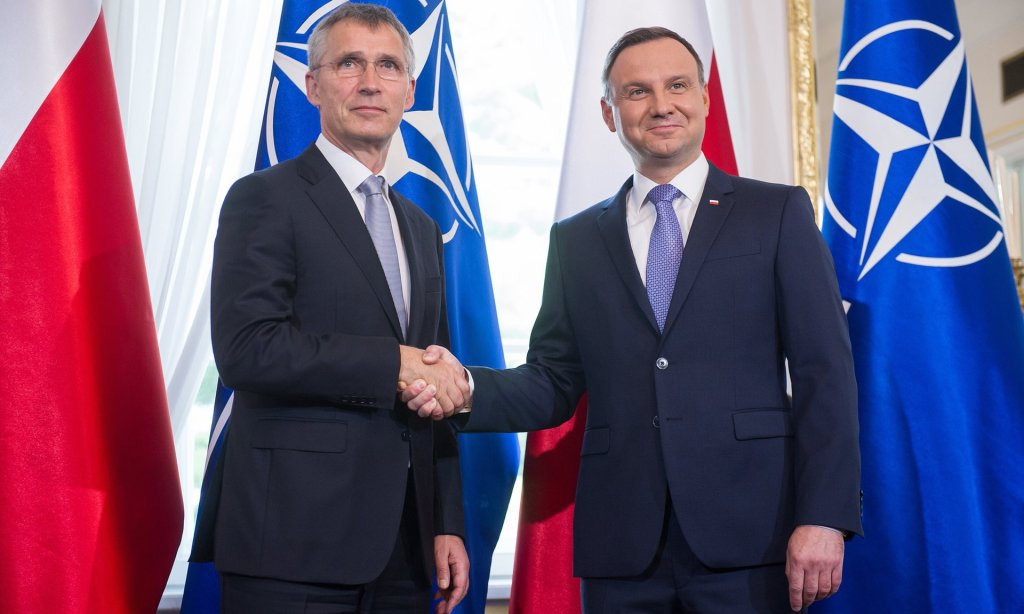 Nato's Jens Stoltenberg, left, and Andrzej Duda insist that the EU referendum result will not affect the alliance. Photograph: East News/Rex/Shutterstock