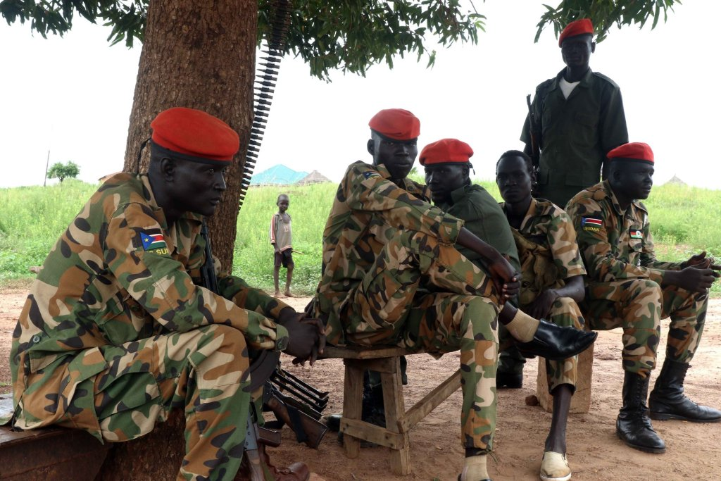 SPLA soldiers from the Dinka tribe at the barracks in Wau, South Sudan. Photograph: Simona Foltýn