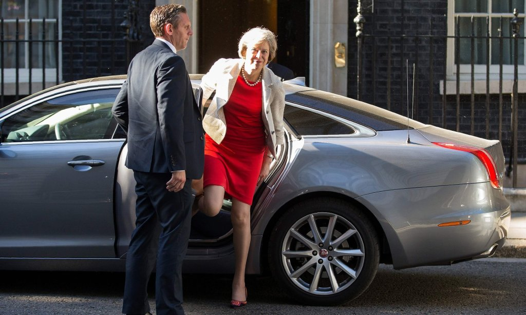 Theresa May just before flying to Berlin on Wednesday in her first foreign visit as prime minister. Photograph: Daniel Leal-Olivas/AFP/Getty Images