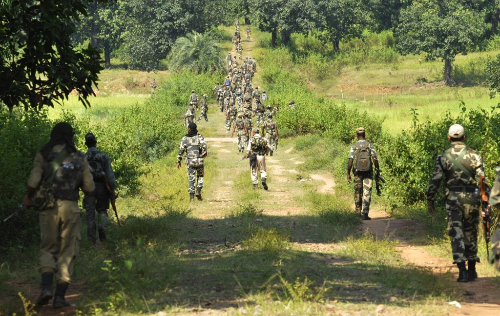 An Indian government paramilitary unit, the Central Reserve Police Force, on patrol in Chhattisgarh. Photograph: Samir Jana/Hindustan Times/Getty Images