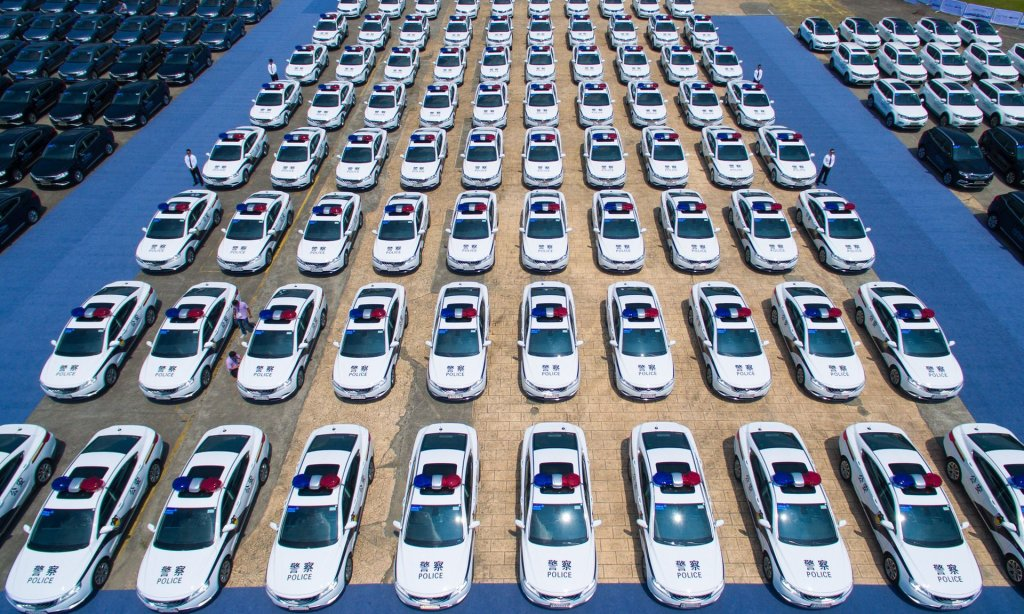 New police cars and other vehicles assigned for the upcoming G20 Hangzhou Summit. The city is being cleaned up and revamped for the visit of world leaders. Photograph: Imaginechina/REX/Shutterstock