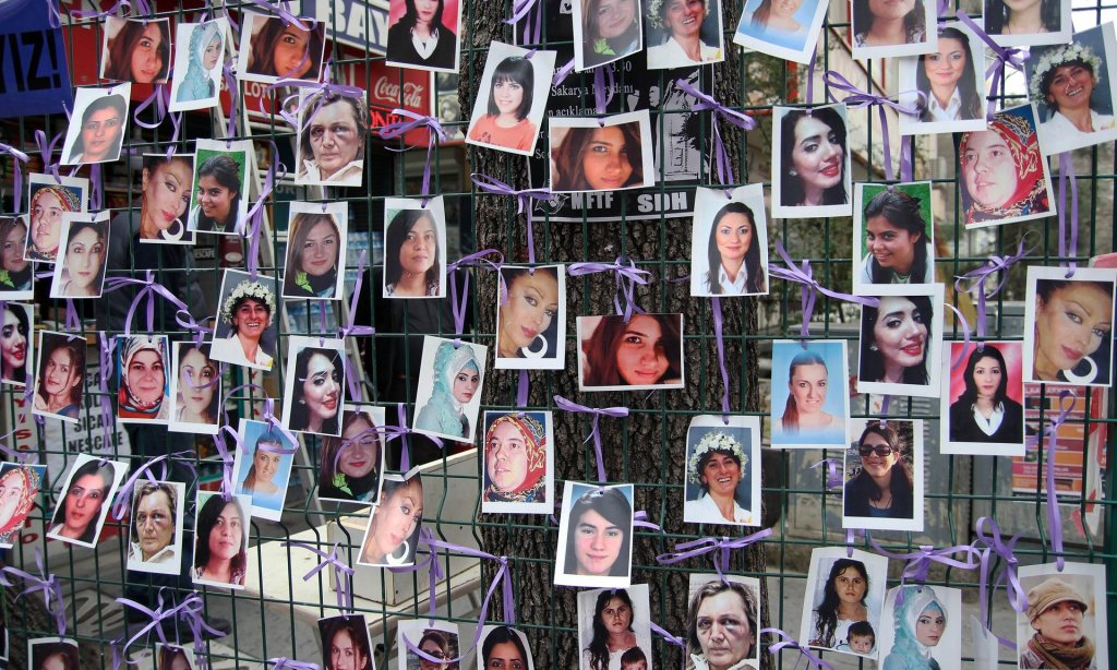A photo exhibition of murdered women staged as a protest against violence towards women in Ankara, March 2015. Photograph: Adem Altan/AFP/Getty Images