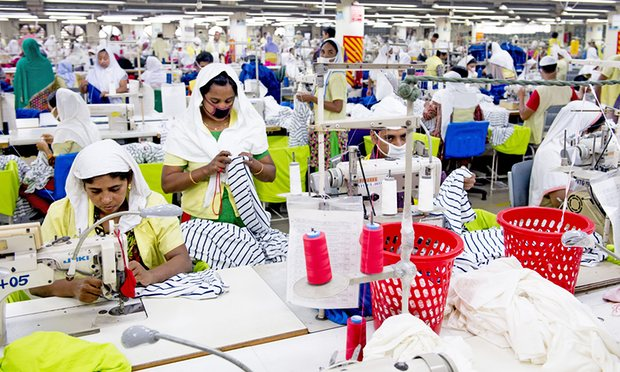 A garment factory in Dhaka. Bangladesh relies on the UK for 10% of its exports. Photograph: Action Press/Rex/Shutterstock