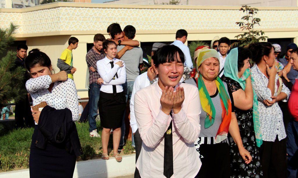 Uzbeks mourn the Islam Karimov in Tashkent on Saturday. Photograph: STRINGER/Reuters