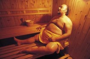 obese man, sauna