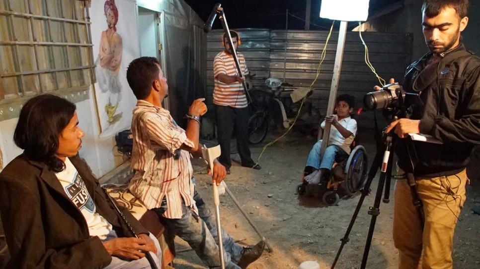 Ahmed and his team start work on their soap opera, entitled Ziko & Shreko. © UNHCR/Houssam Hariri