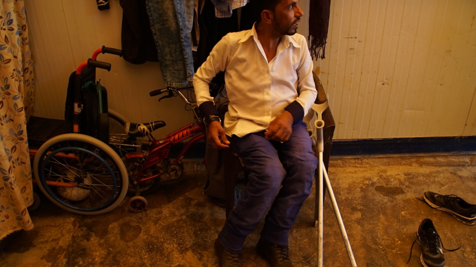 Ahmed starting acting back in Syria at the age of 15. A hereditary muscular disorder requires him to use crutches and a specially adapted scooter that he built himself. © UNHCR/Houssam Hariri