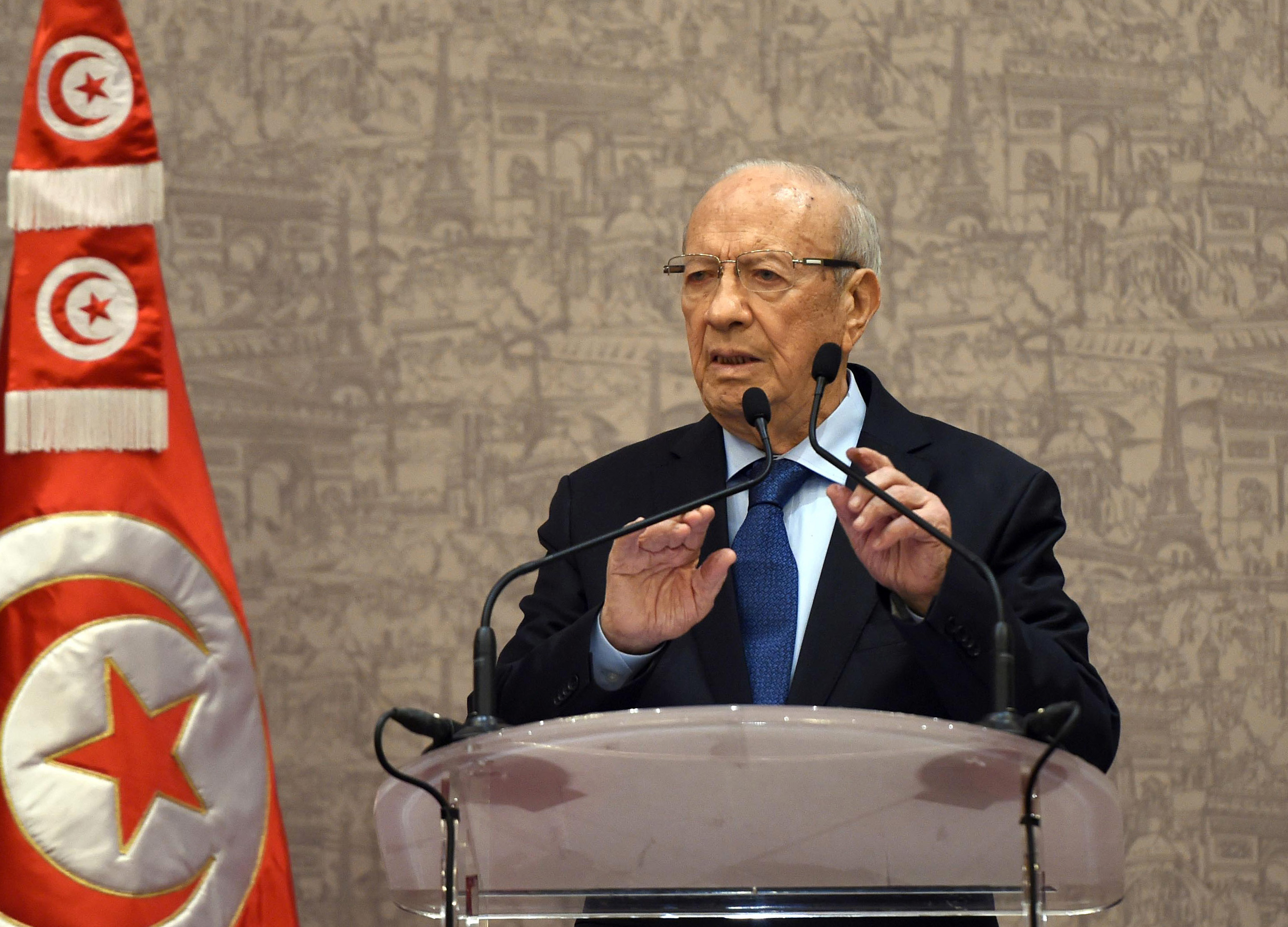 Newly elected Tunisian President Beji Caid Essebsi gives a press conference in Tunis, (AP Photo/Str)