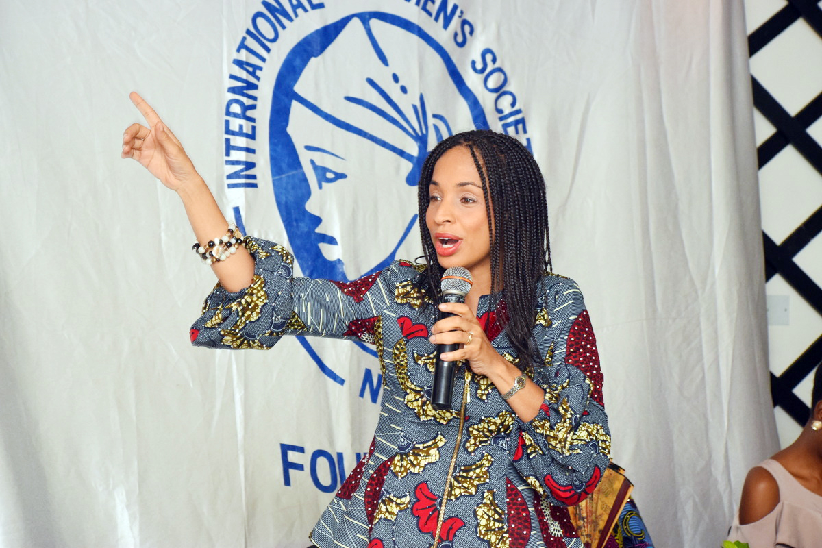 Ndidi Nwuneli, Founder, LEAP Africa,  delivering her remarks at the IWS Breakfast Meeting.