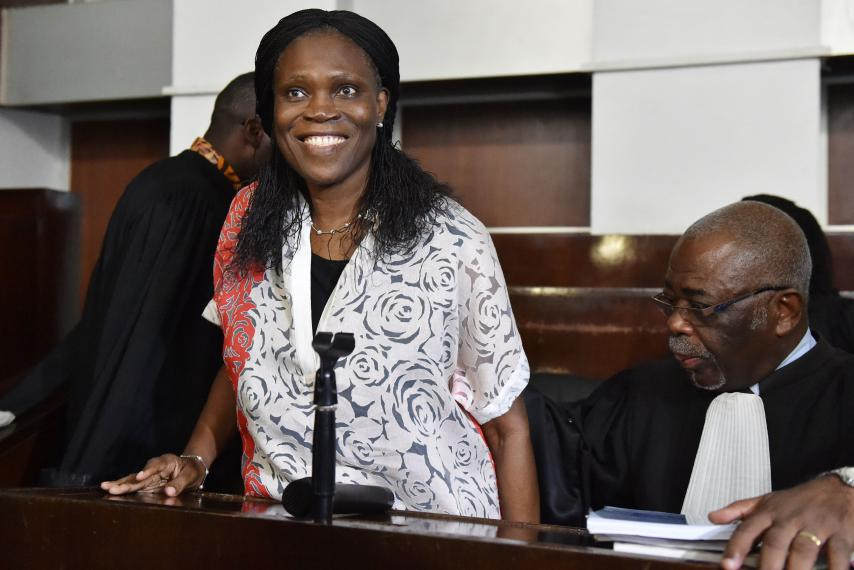 "Ivory Coast""s former first lady Simone Gbagbo , who is accused of crimes against humanity and war crimes for her alleged role in a 2011 civil war, arrives in a domestic court in Abidjan, Ivory Coast, May 31, 2016."