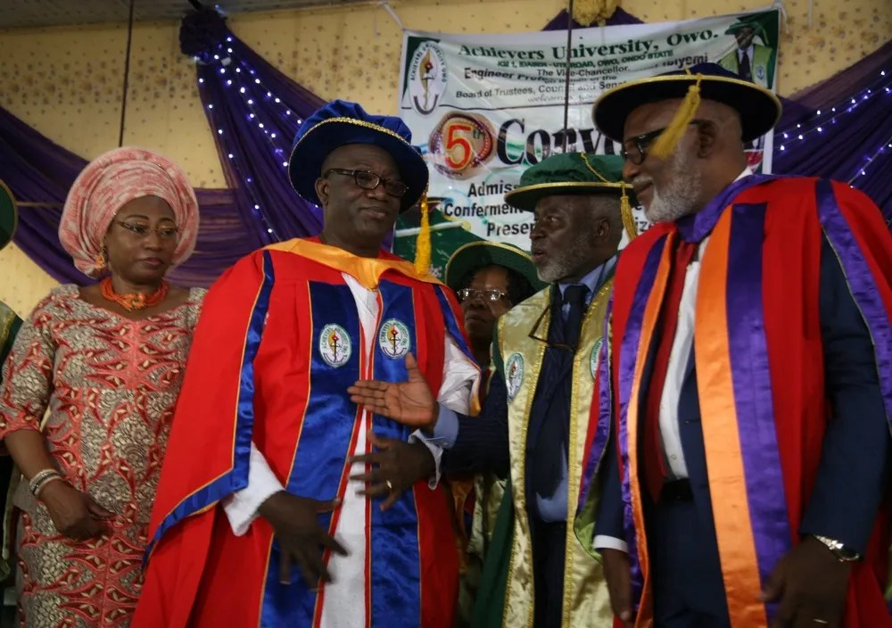 L-R: Wife of the honoree, Erelu Bisi Fayemi; Minister of Mines and Steel Development/honourary doctorate degree awardee, Dr Kayode Fayemi; Chancellor, Achievers University, Dr Bode Olajumoke; and Ondo State Governor, Mr Rotimi Akeredolu; during the conferment of honourary Doctor of Science in Public Administration on Fayemi at the fifth convocation ceremony of Achievers University Owo, Ondo State