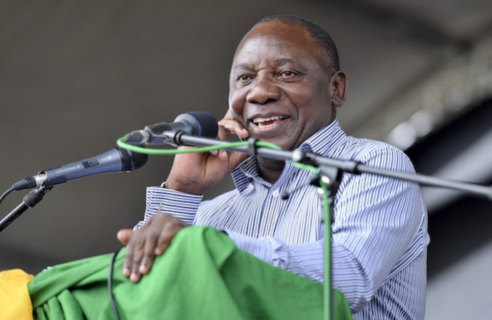 PIETERMARITZBURG, SOUTH AFRICA - JANUARY 10: (SOUTH AFRICA OUT) Deputy President Cyril Ramaphosa on January 10, 2013, in Pietermaritzburg, South Africa.  The ANC rally marked the party's 101 year of existence. (Photo by Khaya Ngwenya / City Presss / Gallo Images / Getty Images)