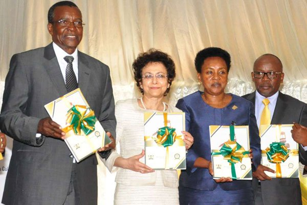 From left: Chief Justice David Maraga, International Development Law Organisation (IDLO) Director General Irene Khan, Deputy Chief Justice Philomena Mwilu and Attorney General Githu Muigai during the launch of the joint report by the Judiciary Committee on Election and IDLO at the Supreme Court on May 4, 2017. PHOTO | MARTIN MUKANGU| NATION MEDIA GROUP