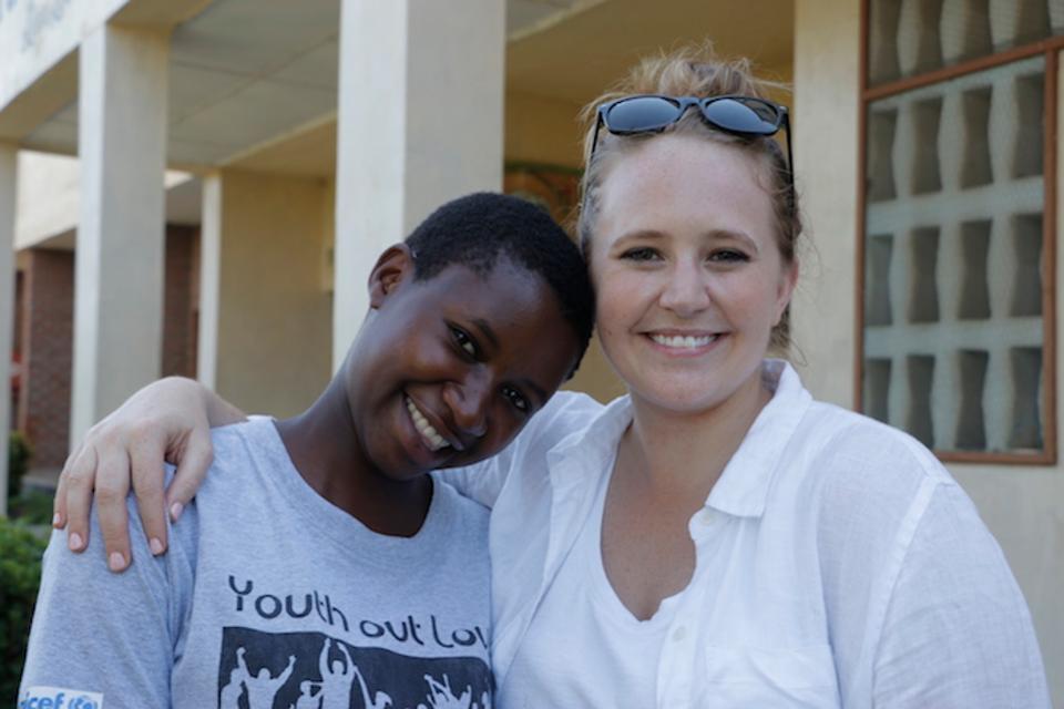 K.I.N.D. Fund scholarship recipient Rehema, left, with UNICEF USA's Lauren Davitt in Namwera, Malawi. Photo: UNICEF USA