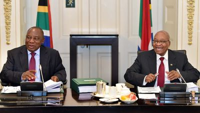 Ramaphosa and Zuma on Feb. 7. Photographer: Elmond Jiyane/GCIS