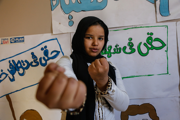 Plan International / Heba Khalifa Aya, 13, learns self defence to protect herself against street harassment