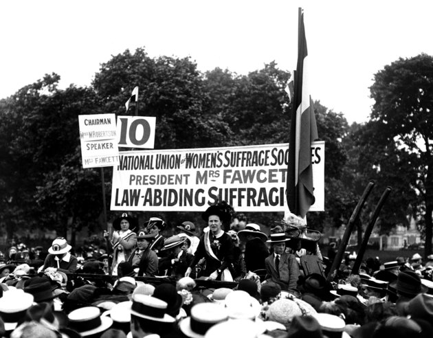PA Archive/PA Images Millicent Fawcett, who founded the National Union of Women's Suffrage, speaks at the Suffragette Pilgrimage in Hyde Park.