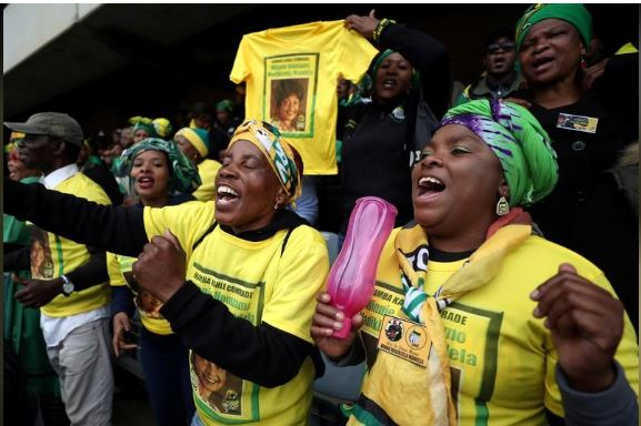 Mourners pay their respects at a memorial service for Winnie Madikizela-Mandela at Orlando Stadium in Johannesburg's Soweto township, South Africa April 11, 2018. REUTERS/Mike Hutchings