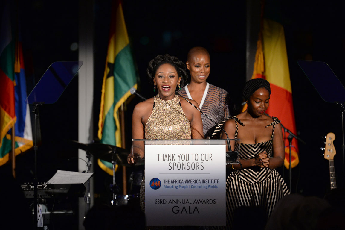 NEW YORK, NY - SEPTEMBER 19:  Nana Mensah, Sidra Smith and Maame Yaa speak during The Africa-America Institute 33rd Annual Awards Gala at Mandarin Oriental New York on September 19, 2017 in New York City.  (Photo by Andrew Toth/Getty Images for The Africa-America Institute) *** Local Caption *** Nana Mensah; Sidra Smith; Maame Yaa