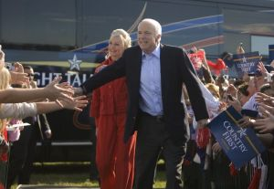 John and Cindy McCain during a campaign rally in Tampa, Florida on Nov. 3, 2008. Photographer: Andrew Harrer/Bloomberg