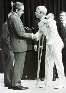 McCain is welcomed by U.S. President Richard Nixon in Washington on May 24, 1973. Source: Hulton Archive via Getty Images