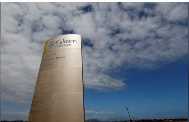The logo of state power utility Eskom is seen outside the Koeberg nuclear power plant near Cape Town, South Africa, March 20, 2016. REUTERS/Mike Hutchings/File Photo