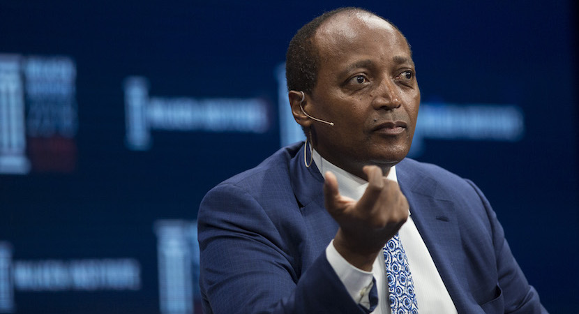 Patrice Motsepe, founder and chairman of African Rainbow Minerals Ltd., smiles on stage during the Milken Institute Global Conference in Beverly Hills, California, U.S., on Wednesday, May 2, 2018. The conference brings together leaders in business, government, technology, philanthropy, academia, and the media to discuss actionable and collaborative solutions to some of the most important questions of our time. Photographer: Dania Maxwell/Bloomberg