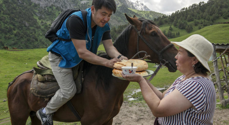 Azizbek Ashurov is welcomed with traditional bread and horse's milk, as he leads the Ferghana Valley Lawyers Without Borders mobile team on a visit to a community of formerly stateless persons in a remote area of Kyrgyzstan. ; Ferghana Valley Lawyers Without Borders, headed by Ashurov, was first established in 2003 to offer free legal advice. It began tackling statelessness in 2007 and, in 2014, funding from UNHCR, the UN Refugee Agency, helped to set up mobile legal clinics and map the problem. Working with the Kyrgyz government, they have helped well over 10,000 people to gain Kyrgyz nationality after they became stateless following the dissolution of the Soviet Union. Among them, some 2,000 children will now have the right to an education and a future with the freedom to travel, marry and work. For his efforts helping the country become the first country in the world to end statelessness, Director Azizbek Ashurov has won the 2019 UNHCR  Nansen Refugee Award.  Statelessness limits access to basic rights such as employment, education and healthcare. UNHCR is striving to meet the goal of its #IBelong Campaign to End Statelessness by 2024.