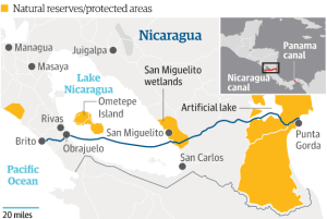 Map showing where the canla will cut through Nicaragua