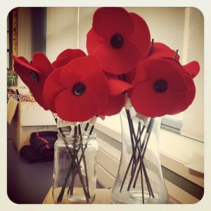 felt poppies in jars