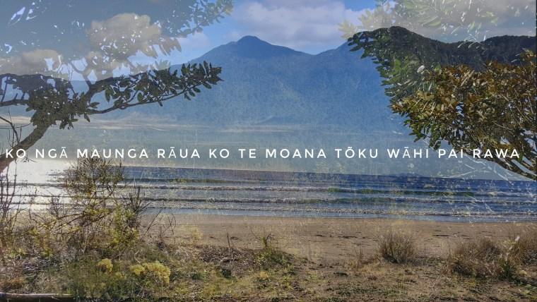 photo of mountain overlaid by a beach with tress framing the image and the caption Ko ngā maunga rāua ko te moana tōku wāhi pai rawa.