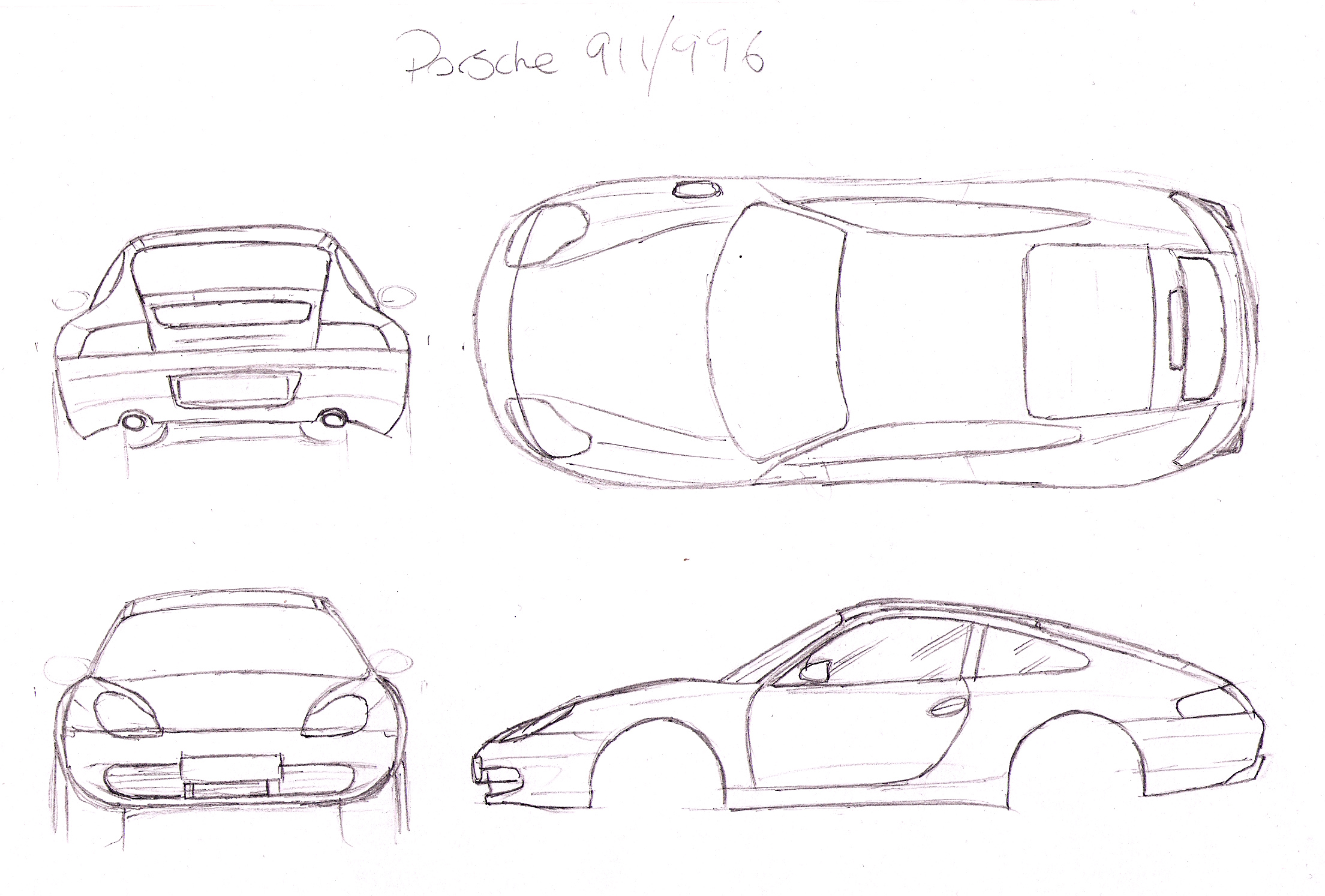 Porsche 911 996 Orthographic Drawing