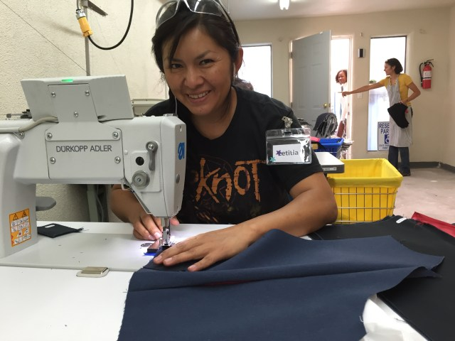 Leticia, sewing on Ghost, the machine that ran itself.
