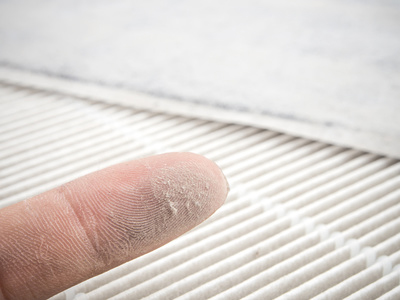 dusty finger and air duct pictured. Needs air duct cleaning