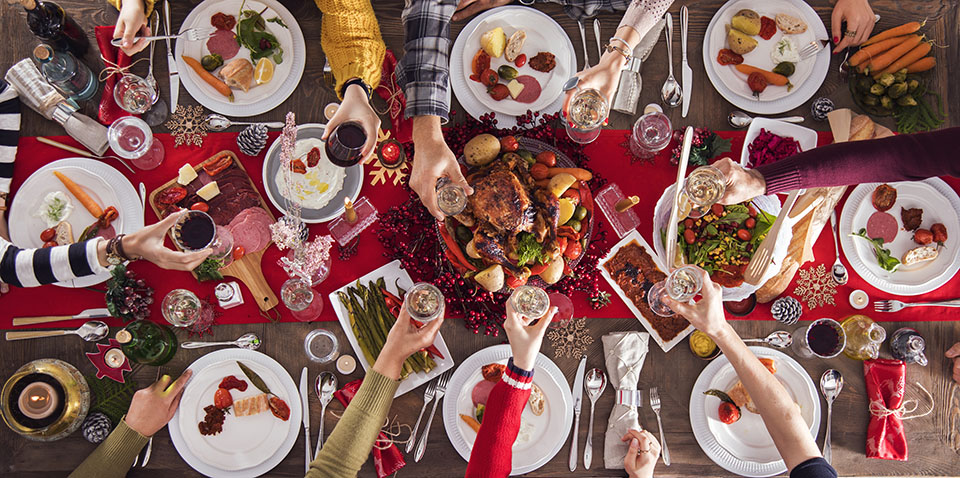 Thoroclean is here to help with tile cleaning for the holidays. Holiday dinner pictured