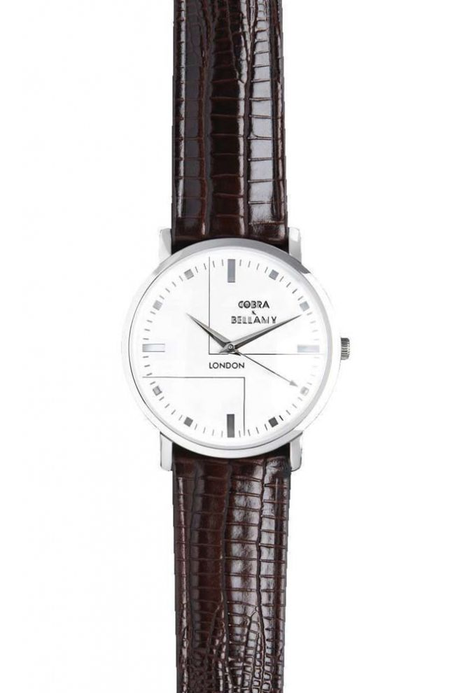 Cobra & Bellamy Sennen watch with white face and brown leather strap