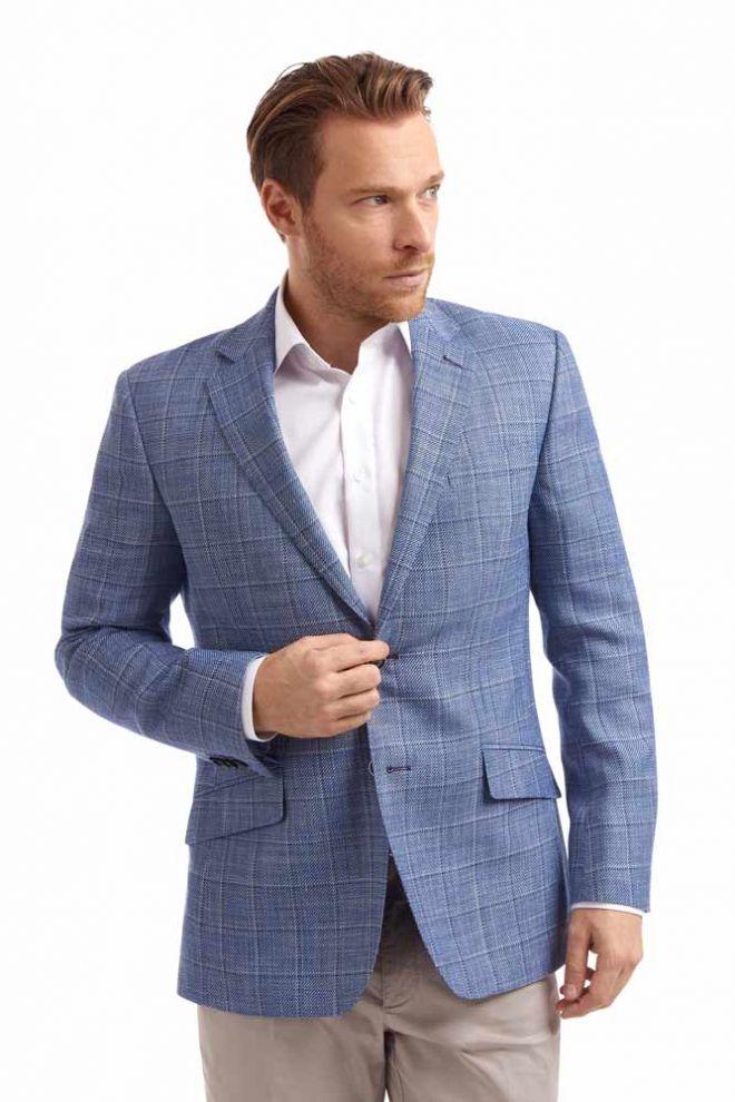 Abrahams Blue Linen mix jacket