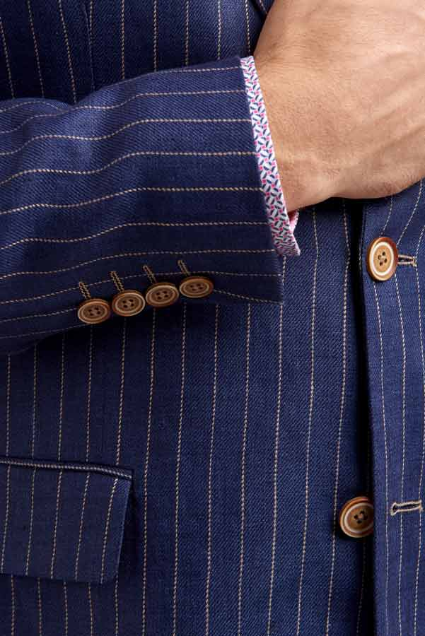 Abrahams Navy Linen Pinstripe jacket detail