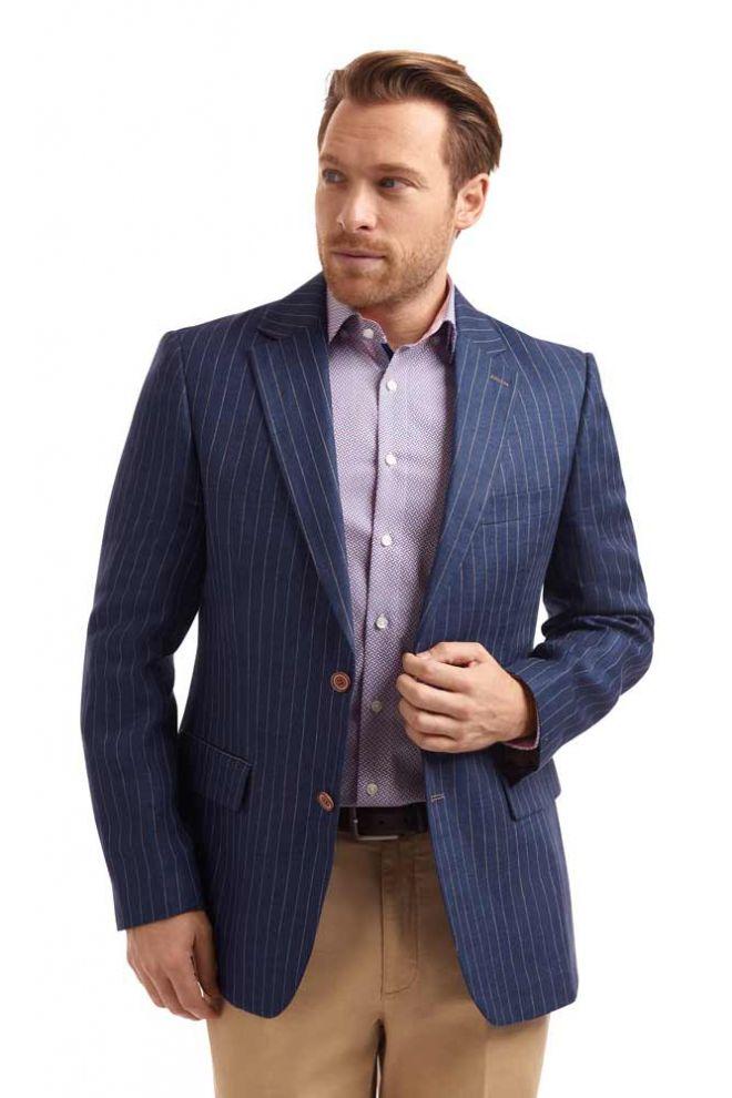 Abrahams Navy Linen Pinstripe jacket
