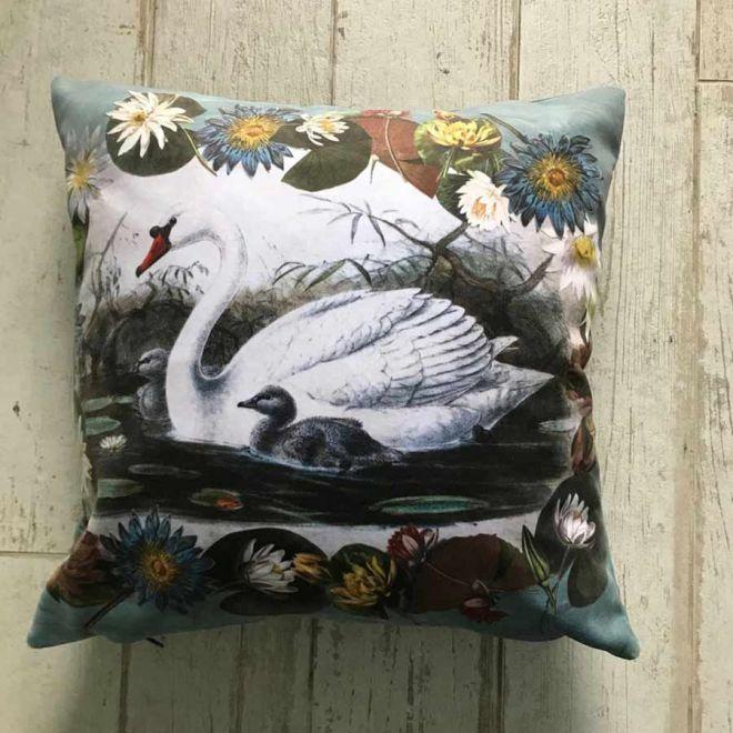 Diana Wilson Arcana Swan velvet cushion
