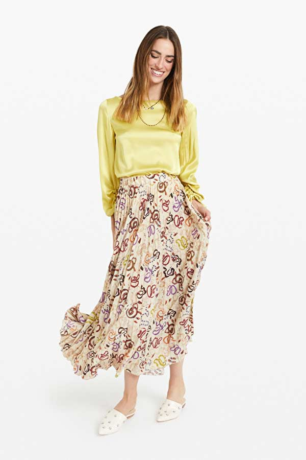 Ottod'Ame Viscose Blouse and Pleated Snake Print Skirt