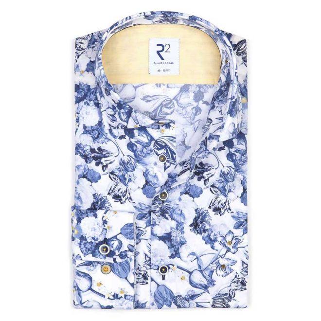 R2 Amsterdam dutch blue flower print shirt