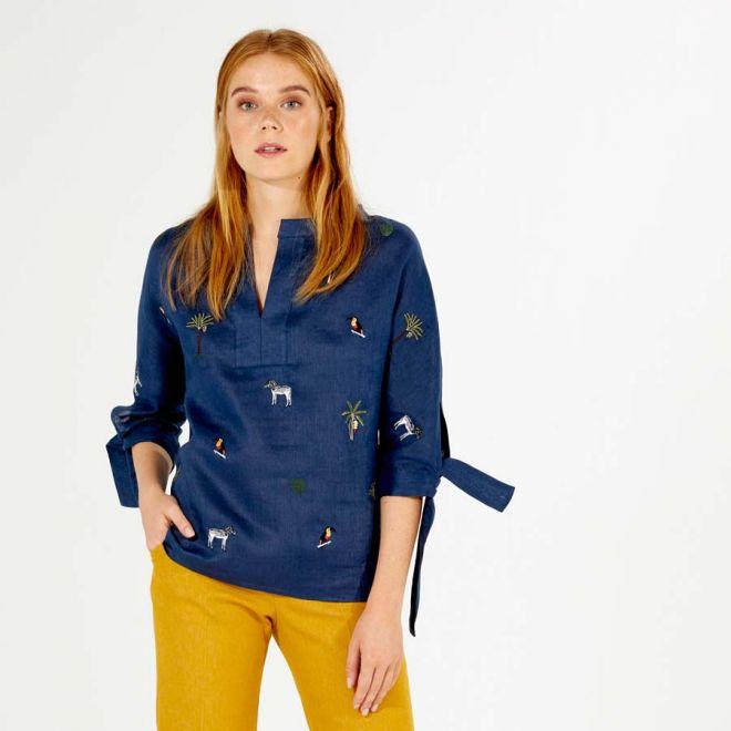 VILAGALLO Abby Embroidered linen shirt