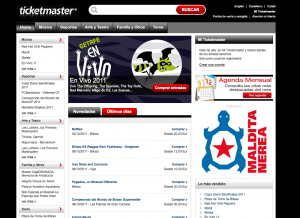 Pantallazo web TicketMaster