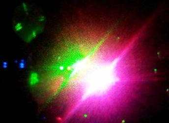 Disco lights at a party shine in bright starbursts