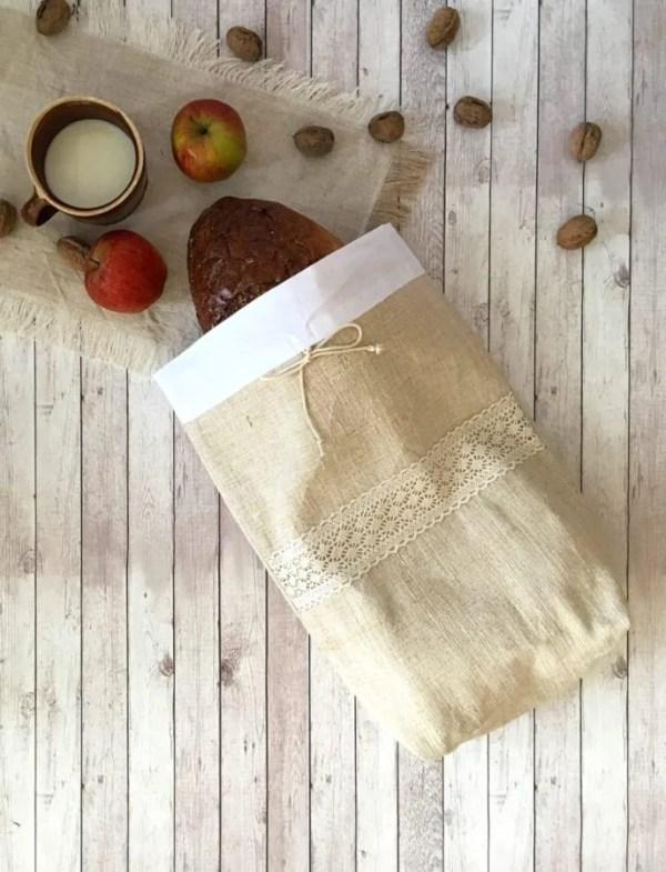 ľanové vrecko na chlieb, bagety
